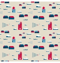 Seamless pattern lighthouses and village vector