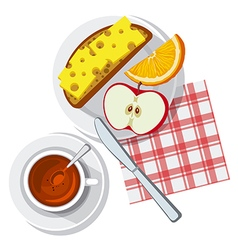 Breakfast on table vector