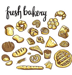 Set of bakery icons bread cookies cake pie vector