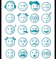 Icons set 20 blue color of half vector