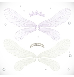White and violet fairy wings with tiara bundled vector