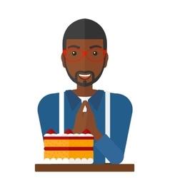 Man looking at cake vector