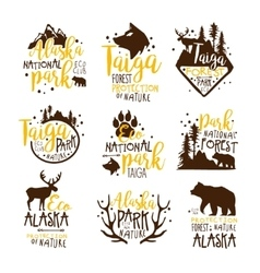 Alaska national park promo signs series of vector