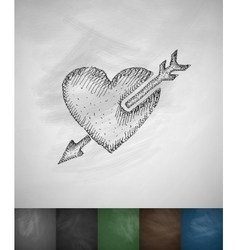 Arrow in the heart icon hand drawn vector