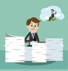 business man working and dreaming about money vector image