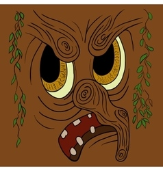 Cartoon angry trees face vector image