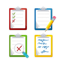 Checklist dashboards survey icon set vector