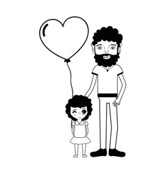 Contour father with his daughter and heart balloon vector