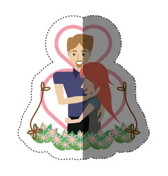 Couple embracing love heart floral shadow vector