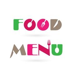 Creative food menu word logo elements vector