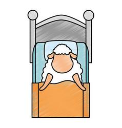 Cute sheep sleeping on bed vector