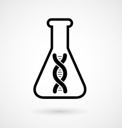 Dna molecule in flask - genetic experiment icon vector