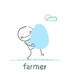 Farmer has a huge egg vector