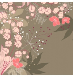floral background with contour flowers vector image