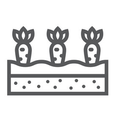 Growing carrots line icon farming and agriculture vector