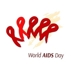Hand-drawn ribbon symbolizing aids artistic vector