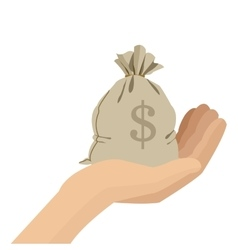 hand holding bag of money icon vector image