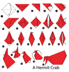 instructions how to make origami a hermit crab vector image vector image
