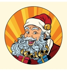 Joyful santa claus with gifts vector