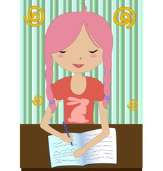little girl sitting at a desk and writing vector image