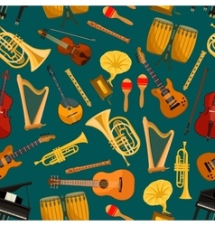 Music pattern of musical instruments flat icons vector