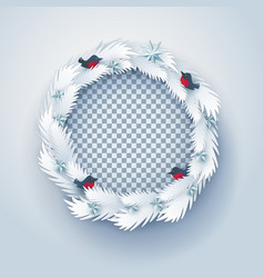 paper christmas wreath with birds vector image vector image