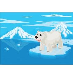 Polar bear and snowy mountain vector