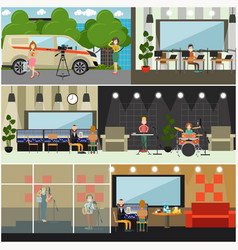 radio broadcast concept flat poster set vector image vector image