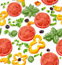 Seamless pattern from vegetables and herbs vector image vector image