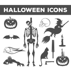 Set Halloween Icons Sign and Symbols vector image