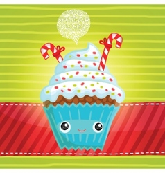 Smiling cupcake vector image
