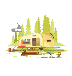 Trailer for travel in forest vector