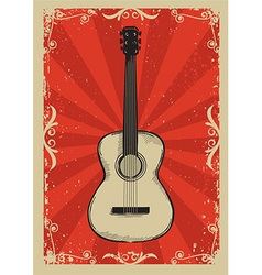 Vintage red poster with guitar vector