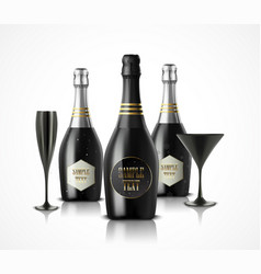 wineglass and champagne wine bottles vector image
