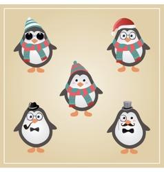 Winter hipster penguins vector