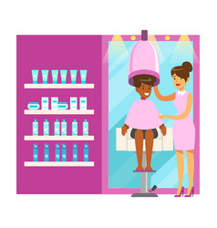 Women drying hair in beauty salon colorful vector