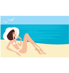 young woman on a beach vector image vector image