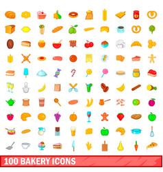 100 bakery icons set cartoon style vector