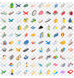 100 toys for kids icons set isometric 3d style vector image vector image