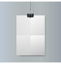 Empty vertical white paper poster mockup vector