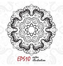 Black and white geometric mandala background vector