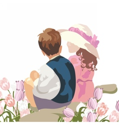 Happy kids in a meadow of tulips vector