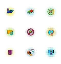 Cyber attack icons set pop-art style vector