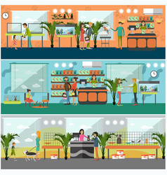 set of pet shop concept posters in flat vector image