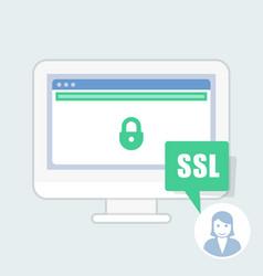 Ssl certificate notice - green address bar website vector