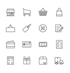 Market and shopping icon set line icon vector