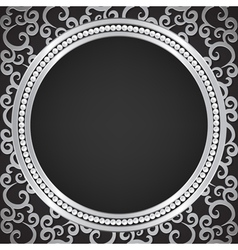 Silver pattern with swirls and pearl frame vector