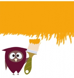 owl and brush vector image