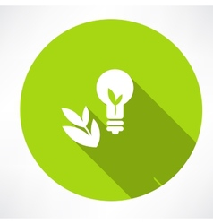 Green bulb with leaf vector