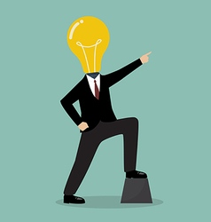 Businessman with a light bulb head pointing up vector